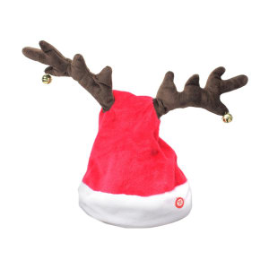 XMAS ANIMATED HAT WITH ANTLERS 22 CM