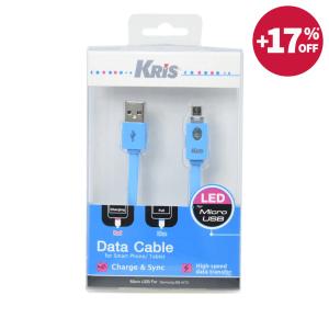 KRIS KABEL DATA MICRO USB DENGAN LED - BIRU