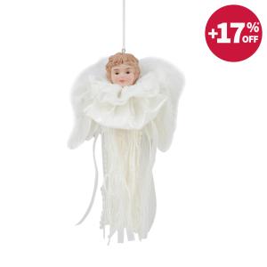 NOELLE ORNAMEN BABY ANGEL DENGAN PITA 18 CM - PUTIH