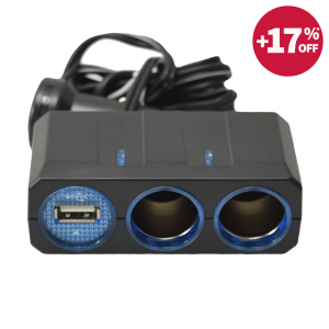 SOCKET USB & TWIN SOCKET MOBIL 1.2 AMP - HITAM