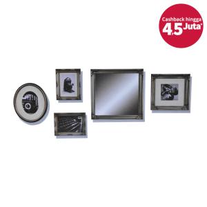 BINGKAI FOTO KAYU SET (5 PCS) - SILVER