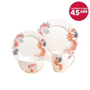 DELIZIOSO SET PERLENGKAPAN MAKAN BONE CHINA ASTRANTIA 16 PCS