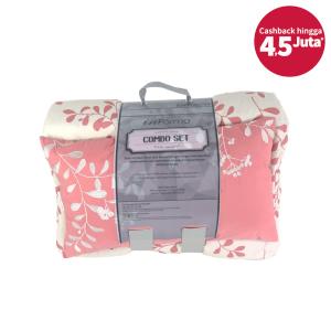 SET BED COVER MOTIF DAUN 210X210 CM – KREM