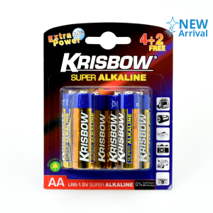 KRISBOW ALKALINE BATERAI UKURAN AA 4+2 PCS