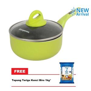 KANGAROO KG-921 PANCI MASAK+TUTUP KACA 16CM FREE KUNCI BIRU TEPUNG TERIGU 1KG