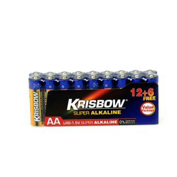 KRISBOW BATERAI ALKALINE UKURAN AA 12+6 PCS_1