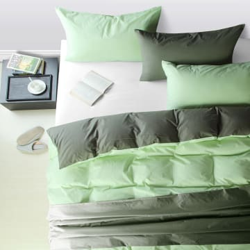 LINOTELA TWO TONE DUVET COVER KATUN SINGLE - FERN GREY_1