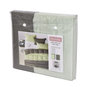 LINOTELA TWO TONE DUVET COVER KATUN SINGLE - FERN GREY_3