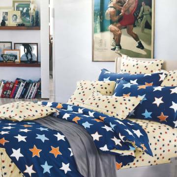 BED COVER MOTIF BINTANG 240X210 CM - BIRU_1