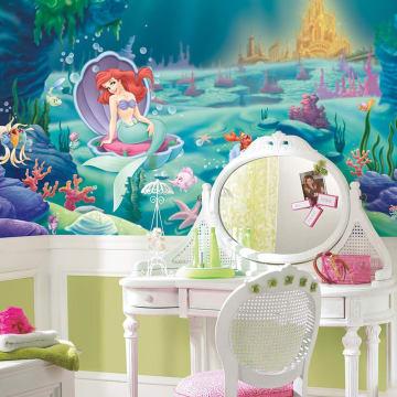 Disney Little Mermaid Chair Rail Mural WALLPAPER_1