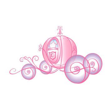 DISNEY Princess Scroll Carriage Glitter STIKER DINDING_1