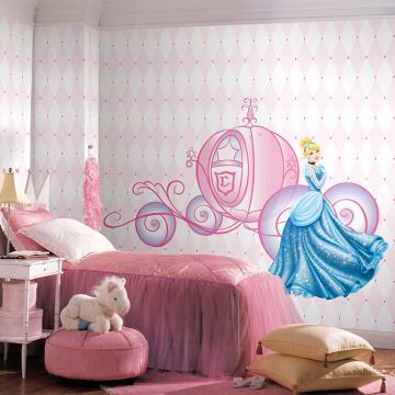 DISNEY Princess Scroll Carriage Glitter STIKER DINDING_2