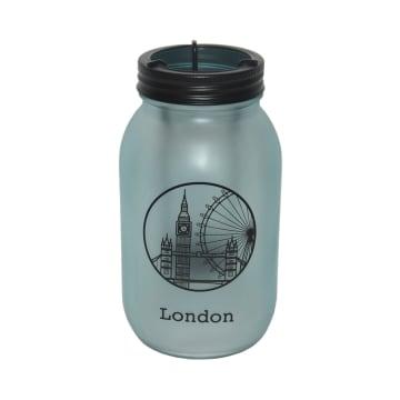 TEMPAT LILIN DEKORASI LONDON 9.5X9.5X17.5 CM - BIRU_1