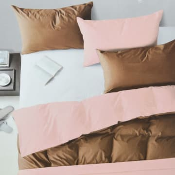 LINOTELA DUVET COVER 240X210 CM TWO TONE - COFFEE PINK_1