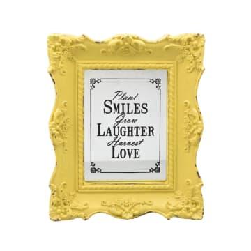 HIASAN DINDING PLAKAT SMILE, LAUGHTER, LOVE 25X4.3X30 CM - KUNING_1