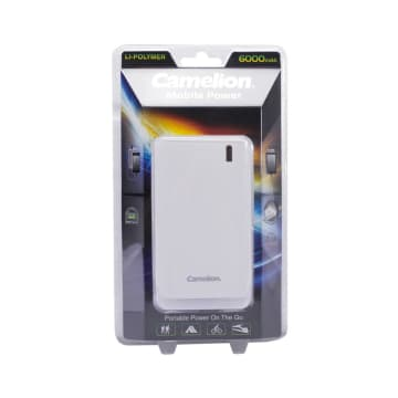 CAMELION POWER BANK DENGAN SENTER LED 6000 MAH 2.1 A - PUTIH_1