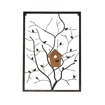 HIASAN DINDING DEKORASI BIRD NEST AND TREE 61X91X4.1 CM - HITAM_1
