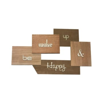 HIASAN DINDING KAYU BE WAKE UP & HAPPY 73X45.4X4.7 CM_1
