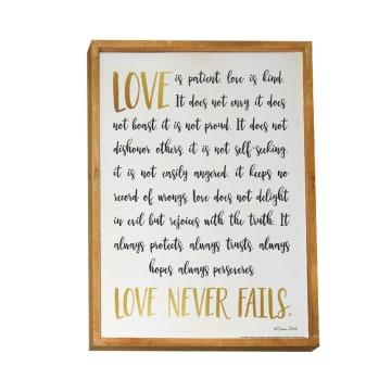 HIASAN DINDING KAYU LOVE NEVER FAILS 33X43X2.8 CM_1