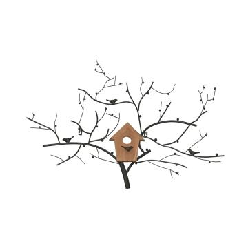 HIASAN DINDING BIRD NEST AND TREE 85X58.5X4.5 CM - HITAM_1