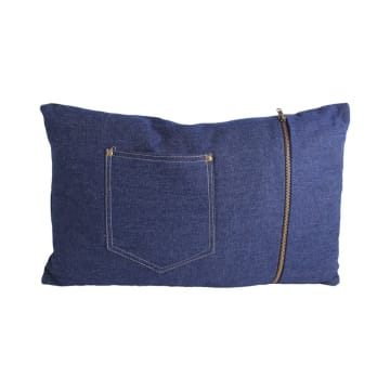 BANTAL SOFA DENIM JEANS POCKET BLUE 30X50 CM - BIRU_1