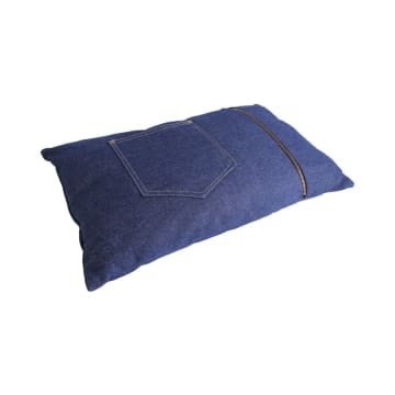 BANTAL SOFA DENIM JEANS POCKET BLUE 30X50 CM - BIRU_2