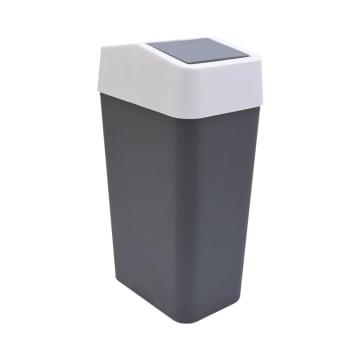 TEMPAT SAMPAH PLASTIK TUTUP AYUN  22X14.5X40 CM - ABU-ABU_1