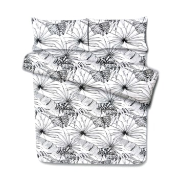 BED COVER MICROFIBER PALM LEAVE_1