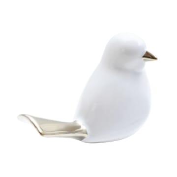 MINIATUR DEKORASI BIRD 1Q 13.5X7.5X10 CM - PUTIH/GOLD_2