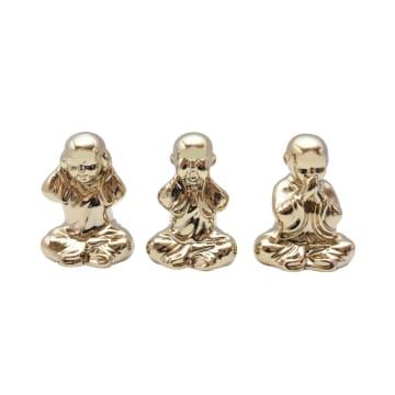 MINIATUR DEKORASI BUDHA 8.5X15 CM 3PCS - GOLD_1