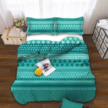 SELMA BED COVER MICROFIBER STAR ZT01 - TURQUOISE_1