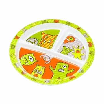 Sugar Boogar Hungry Monster Spill Proof Baby Plate with Divided Suction Piring Makan Anak_1