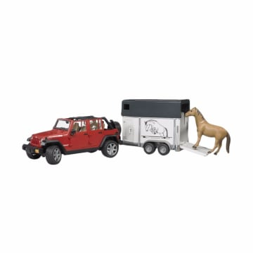 Bruder Toys 2926 Jeep Wrangler Unlimited Rubicon With Horse Trailer And 1 Horse Diecast_1