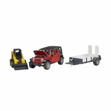 Bruder Toys 2925 Jeep Wrangler Unlimited Rubicon One Axle Trailer and Cat Skid Steer Loader Diecast_1