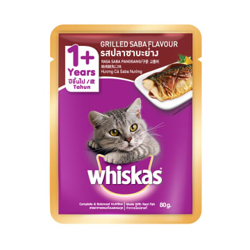 WHISKAS MAKANAN KUCING POUCH GRILLED FISH 85 GR_1
