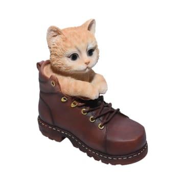 MINIATUR DEKORASI CAT IN SHOES 16.8 CM - COKELAT_1