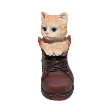 MINIATUR DEKORASI CAT IN SHOES 16.8 CM - COKELAT_3
