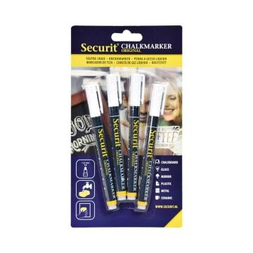 SECURIT SET MARKER CHALKBOARD 1.2CM 4 PCS - PUTIH_1