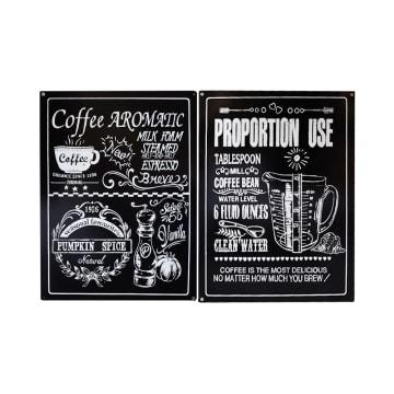 HIASAN DINDING BESI COFFEE VINTAGE 8F 68X92 CM 4 PCS_2
