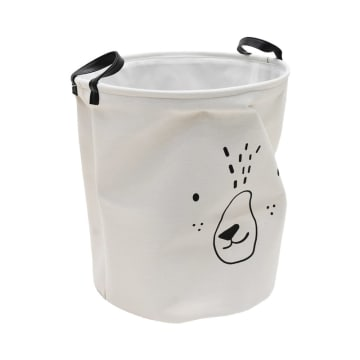 KERANJANG LAUNDRY ANIMAL FACE ROUND - PUTIH_2