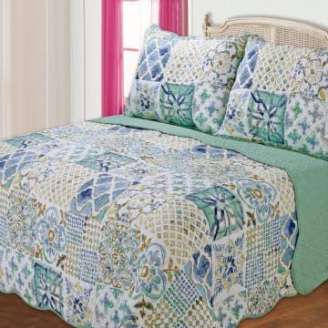 BED COVER 240X210 CM NT359 - BIRU_1