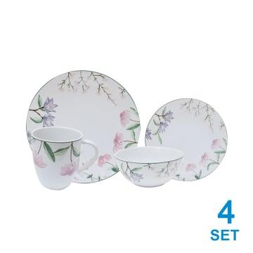 APPETITE SET PERLENGKAPAN MAKAN PINK FLOWER 16 PCS_1