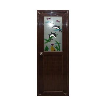 PINTU PVC DENGAN KNOB KIRI PD01 - COKELAT_1