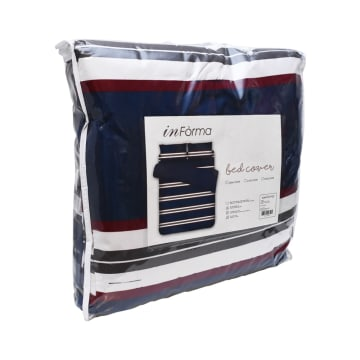 BED COVER MICROFIBER RUGBY STRIPE 240X210 CM_2
