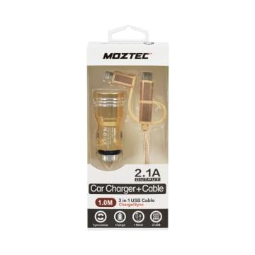 MOZTEC CHARGER MOBIL DAN KABEL 3 IN 1 - GOLD_1