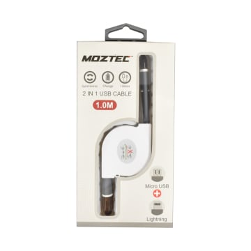MOZTEC KABEL CHARGER 2 IN 1 LIGHTNING + MICRO USB - HITAM_3