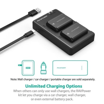 RAVPOWER BATTERY CAMERA SONY CHARGER SET RP PB056_4