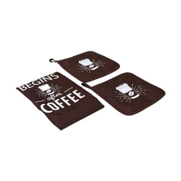 SET CELEMEK DAPUR LIFE BEGIN AFTER COFFEE 3 PCS - COKELAT_2