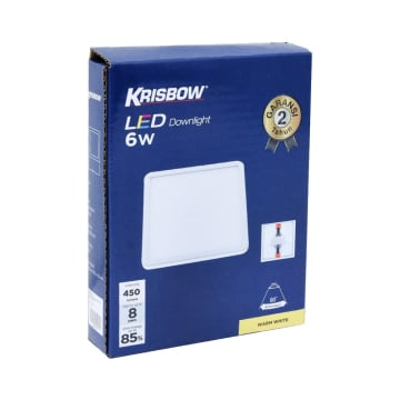 KRISBOW LAMPU DOWNLIGHT LED SQUARE 6W 3000K_2