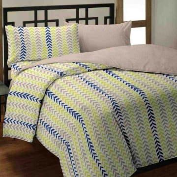 BED COVER MICROFIBER STRIPE LEAF 160X210 CM - HIJAU_1